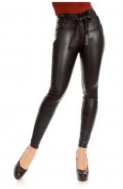 Pantaloni Slim Fit cu talie inalta cu Accesoriu Tip Curea