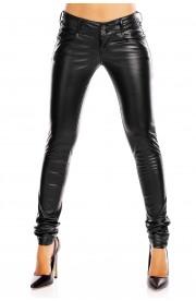Pantaloni Lungi cu buzunare din Piele Ecologica