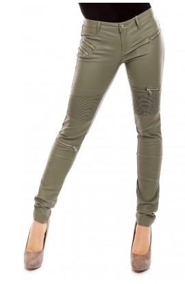 Pantaloni din piele ecologica cu Incretituri Deasupra Genunchilor