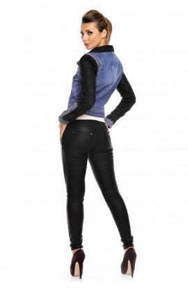 Jacheta dama din jeans cu maneci din dantela
