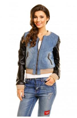 Jacheta din jeans cu maneci din piele ecologica