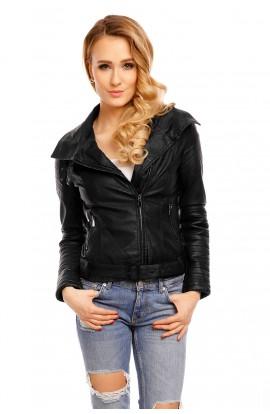 Jacheta de motociclist neagra pentru femei
