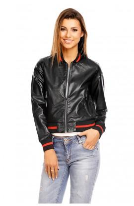 Jacheta piele ecologica cu elastice la mansete