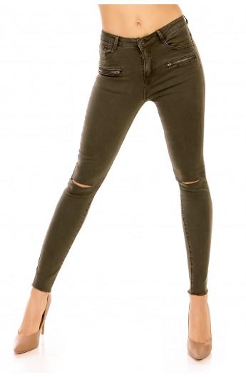 Jeans Slim Fit cu Femoare Decorative si Taieturi