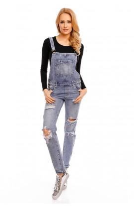Salopeta din Jeans cu Taieturi pentru Femei